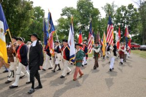 Parade of the Colors (WVSSAR president is in the foreground in green tunic)
