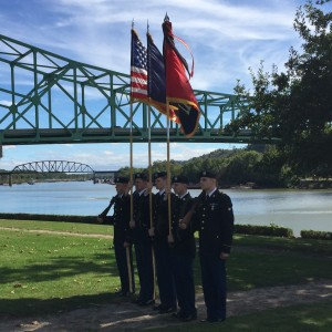 Color Guard, US Army 116th Brigade Combat Team, successors of the August Co. Militia who fought at the Battle of Point Pleasant, October 10, 1774