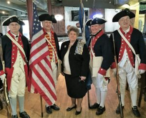 Pictured with Regent Joan McClelland are color guardsmen Gary Timmons (Geo. Washington & Fort Henry Chapters), Bob Tomlinson (Ebenezer Zane Chapter), Jay Frey (Fort Henry Chapter) & Merle Tomlinson (Ebenezer Zane Chapter)
