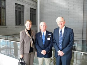 Pictured at the Naturalization Ceremony reception are Dr. Tamara Nichols Rodenburg, Chapter genealogist Gary Auber and Judge Stamp