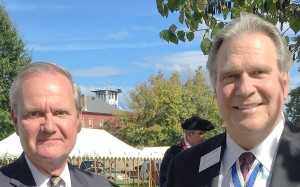 Chapter president Jay Frey pictured with NSSAR President General Tom Lawrence, Battle Days, Point Pleasant, October 4, 2015