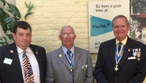 Pictured at the luncheon following the June 11 meeting are (L to R) Rick Greathouse, president, Daniel Boone Chapter, Bill Lester, president, WVSSAR and Jay Frey, president Fort Henry Chapter
