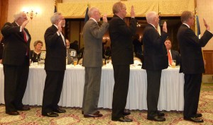 Installation of chapter officers, left to right: George L. Spillers, Chancellor, Brian L. Crawford, registrar; L. Dale Smith, II, secretary-treasurer; David G. McIntire, genealogist, J. Gary Auber, genealogist, Jay Frey, president