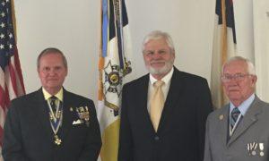 Chapter president Jay Frey with guest speaker David Javersak and WVSSAR president Bill Lester