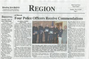 At its May 15, 2015 meeting the Fort Henry Chapter presented four Wheeling Police officers with Law Enforcement Commendations.