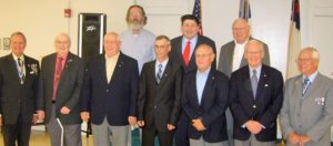 New Compatriots, row 1: Fort Henry Chapter president Jay Frey, Glen Baker, Jr., Ray Baker, Keith Baker, Bill Crowl, Bob Mead, WVSSAR president Bill Lester; row 2: Glen Baker, III, Michael Traubert, Bob McColloch