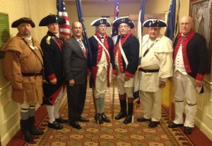 Combined Color Guard, left to right: Don Brown, Capt. James Neal Chapter, (WV); Larry Perkins, Ebenezer Zane Chapter (OH); NSSAR President General Lindsay C. Brock; Gary Timmons, George Washington Chapter (PA); Ted Cox and Ronald Barnes,Capt. James Neal Chapter (WV); Jack Coles, Point Pleasant Chapter (WV)