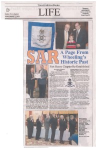 Wheeling Intelligencer coverage of Fort Henry Chapter organizational dinner, Nov. 2. 2014