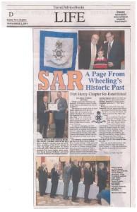 Wheeling Intelligencer coverage of Fort Henry Chapter organizational dinner, Nov. 2. 2014