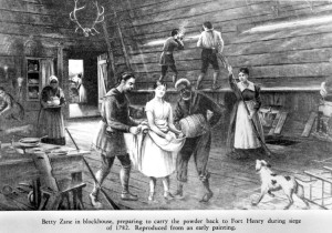 Betty Zane and Fort Henry from a painting. Portrait File: Zane, Betty