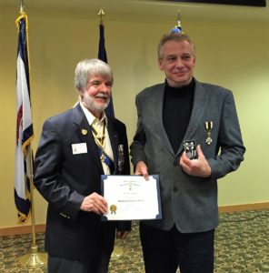 Fort Henry Compatriot David G. McIntire (right) receives the WVSSAR Meritorious Service Award from Central District Vice President General Robert P. Cunningham, April 23, 2016